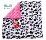 Soccer on Hot Pink Double Minky Binky Blanket